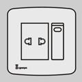 一位单/双控带二极扁圆插座